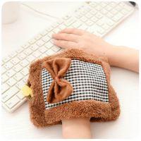 大号双插手毛绒热水袋 蝴蝶结充水暖手宝 保暖棉布拼接塑料暖手袋