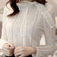 秋装新款 蕾丝打底衫女装镂空长袖雪纺衫小衫上衣女T恤