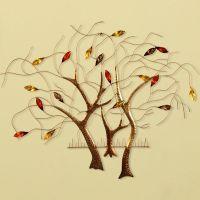 欧式创意家居壁挂壁饰生命树铁艺三连树墙饰挂件 客厅墙壁装饰品