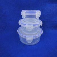 新款透明塑料密封盒 单层带扣圆形塑料饭盒 厂家直销