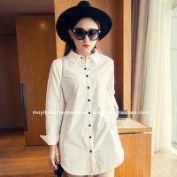 2014冬季新款女装3525#中长款翻领打底衫夹棉加厚白色衬衣衬衫