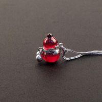 S925纯泰银石榴石葫芦挂件 酒红玫红葫芦 不带项链 饰品小额批发