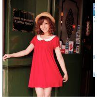 喜之孕夏季新品 韩版高腰线小翻领孕妇裙 娃娃裙