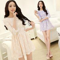 2014秋装新款韩国圆领甜美七分袖公主裙修身蕾丝碎花连衣裙