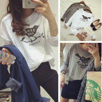 韩版秋季宽松圆领打底衫简约小清新字母小鸟印花长袖T恤