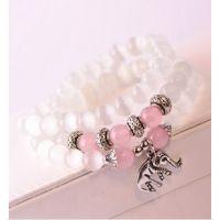 韩国款大颗粉晶 天然白色猫眼石大象挂件 3圈手链