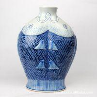 供应景德镇仿康熙年代青花双鱼瓶、青花瓷吉祥陶瓷礼品