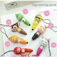 新奇特创意礼品 韩国文具 木制圆珠短笔 手机挂件 淘宝代销 10