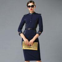 2014冬季新款女装欧美大牌明星同款立领时尚高端拼皮显瘦连衣裙