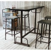 铁艺家具复古做旧餐桌椅组合美式乡村桌子铁艺实木餐桌咖啡桌定做