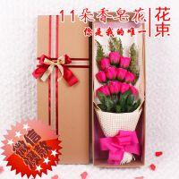 情人节礼物 升级版11朵永生花肥皂玫瑰花礼盒  仿真玫瑰花束批发