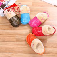 新款棉拖鞋冬季防水情侣PU皮棉拖鞋厚底防滑保暖室内家居拖鞋批发