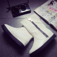 秋冬季新款中筒靴套筒女靴子水钻棉靴套筒学院风白靴欧美代购批发
