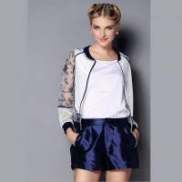 欧洲女装2014秋装新款小香风网格透视长袖上衣 短裤欧美套装