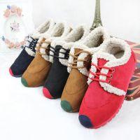 新江南204冬季新款女士棉鞋  雪地靴 女麂皮羊羔绒 简约复古时尚