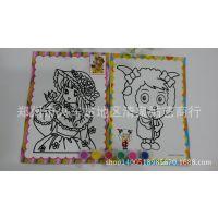 厂家直销 卡通 儿童水彩画6连体 益智早教动漫手工DIY制作涂鸦画