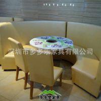 深圳家具厂低价销售 石英石火锅桌 火锅烧烤一体桌椅 电磁炉火锅桌