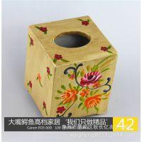 实木环保纸巾盒 木质方形彩绘纸巾盒 木制抽取式纸巾盒 木抽纸盒