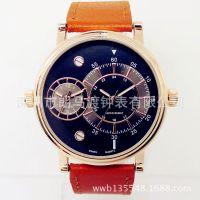 军表双时区石英手表双机芯手表