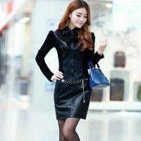 873# 秋冬新款女韩版修身大码裙子长袖打底pu皮裙连衣裙