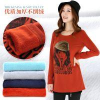 冬季新款女装 韩版时尚印花里绒中长款针织衫 加绒加厚打底衫650
