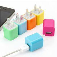 厂家直销 多功能彩色苹果手机USB充电器插头 万能USB电源转换插头