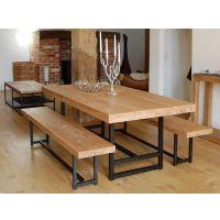 可定制美式乡村成套餐桌椅组合做旧复古桌椅餐厅餐桌铁艺实木桌子