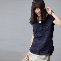 例外麻质江南布衣风格 通勤气质套头衬衫2013新夏女装 米兰宣言