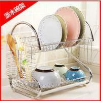 厨房用品多功能S型双层碗碟架/碗架 9字型碗架餐具架 不锈钢碗架