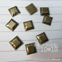 厂家直销 电镀亚克力钻 10*10正方平面双孔手缝钻 仿台亚克力钻