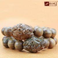 742【角木蛟】厂家批发精品天然美洲绿檀木圆珠夹貔貅佛珠手串