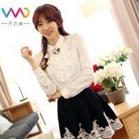 2013秋装新款韩版修身气质立领秋装雪纺长袖衬衫女