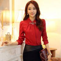 2014 秋冬装新款韩版女装修身长袖衬衫打底衫