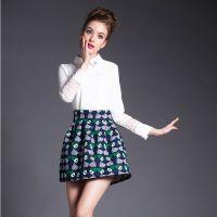欧洲站2015春季新款时尚蕾丝长袖翻领雪纺打底衫套装裙女