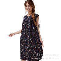 供应中老年连衣裙夏季无袖老年人睡裙中长款宽松大码连衣裙薄款