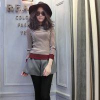 2014秋冬新款韩版女式针织衫条纹长袖圆领修身显瘦打底衫女针织衫