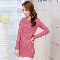 秋季新款女装韩版修身中长款低领套头麻花针织衫打底衫女毛衣外套