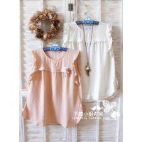 森林系棉麻木耳荷叶花边无袖圆领奶油色娃娃衬衫