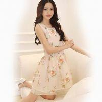 供应2014韩国新款夏季无袖雪纺连衣裙 大码女装中长碎花裙子