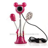 供应米奇多功能摄像头USB风扇+麦克风+台灯 米奇组合 摄像头批发