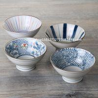 日式餐具手绘和风斗形高脚碗米饭碗大汤碗面碗家居日本陶瓷ZAKKA