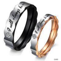 亚马逊ebay速卖通货源 戒指批发 钛钢水钻情侣戒指 对戒GJ301