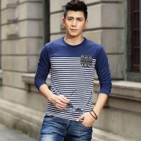2014秋季新款男士韩版修身型长袖圆领t恤青少年潮流条纹打底衫男