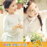 广东品牌童装 秋季新款女童花边领打底衫 韩版儿童长袖T恤衫6071