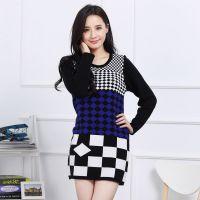 秋冬韩版女装 圆领几何中长款羊毛衫针织衫打底衫 修身显瘦套头衫