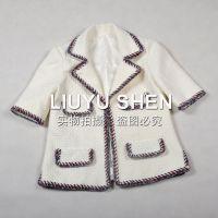 秋冬新款 欧美大牌香家 高品质 手工编织花边中袖羊毛外套