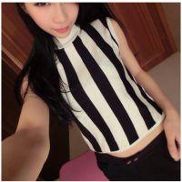 韩版显瘦修身 小高领竖条纹套头个性无袖针织打底衫上衣