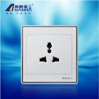 南帆电工墙壁开关插座面板 86型OC阻燃塑料三极多用插座C100-03G