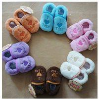 我爱爸爸和妈妈爱心款超柔软珊瑚绒宝宝鞋套/婴儿鞋/学步鞋3022