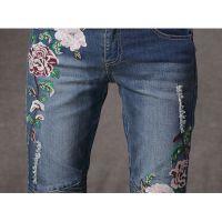 春季新款民族风刺绣花磨白修身显瘦牛仔长裤 褶皱拼接长裤子